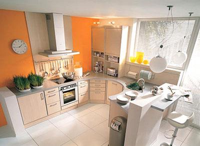 小戶型廚房裝修圖片:橙色點亮廚房
