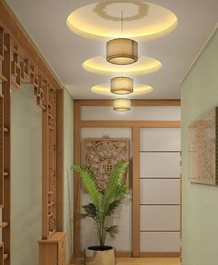 中式风格走廊吊顶设计  古朴自然略带点神秘感