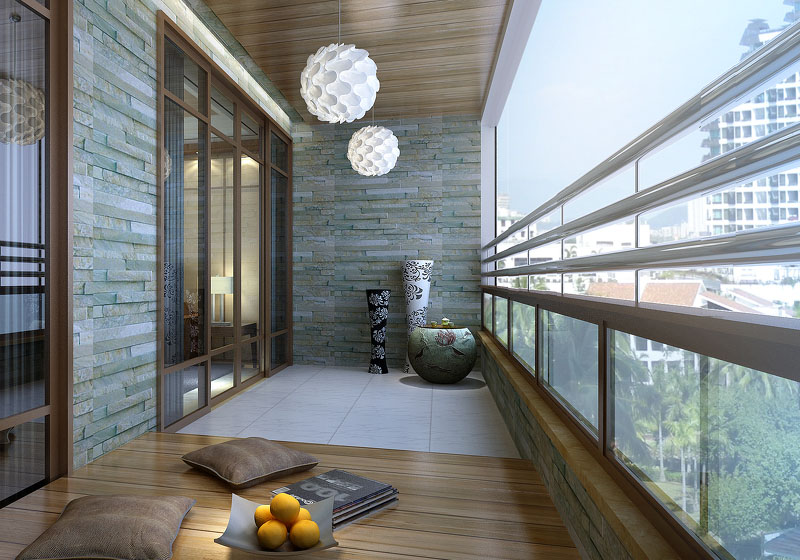 阳台一般供居住者进行室外活动、晾晒衣物等的空间。根据其封闭情况分为非封闭阳台和封闭阳台;根据其与主墙体的关系分为凹阳台和凸阳台;根据其空间位置分为底阳台和挑阳台。下面装修保障网装修小编就和大家分享阳台装修设计到风水的一些知识。      阳台设计要点   1、排水处理   为避免雨水泛入室内,阳台地面应低于室内楼层地面30~60毫米,向排水方向作平缓斜坡,外缘设挡水边坎,将水导入雨水管排出。简易的也有在阳台的一端或两端埋设镀锌钢管或塑料管直接向外排水,最上层的阳台顶部设防雨顶盖。   2、栏杆和扶手