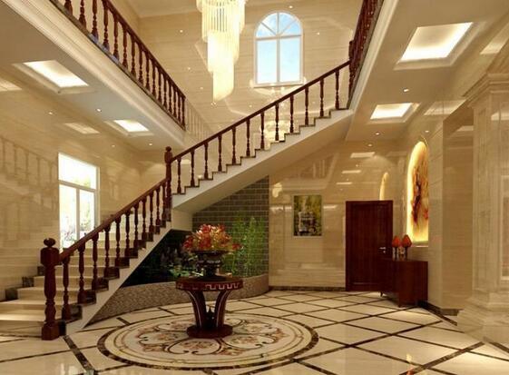空间的装修层次感突显。     别墅楼梯间的灯具效果图2.欧式楼梯过道灯具布置:   楼梯灯具的布置安装不仅仅只是楼梯上升部位需要进行灯具的安装,对于大户型的别墅而言,楼梯过道也是少了不灯具的装饰,如下图,楼梯过道灯具的安装是需要与整个顶部灯具设计和过道墙壁的装饰设计相搭配,采用镶嵌于吊顶内的射灯设计,不仅可以将过道墙壁的装饰效果进行突显,而且还与整个吊顶空间的灯饰设计相搭配。    别墅楼梯间的灯具效果图3.