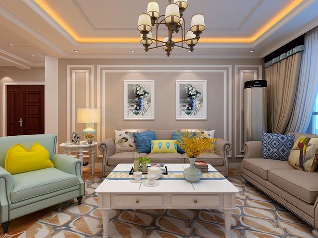 客厅花地砖拼贴装修设计效果图案例