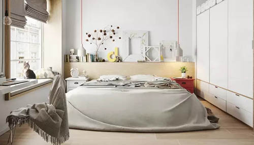 简单的置物架,隐蔽的衣柜,这真是一个让人一眼相中的卧室啊!-