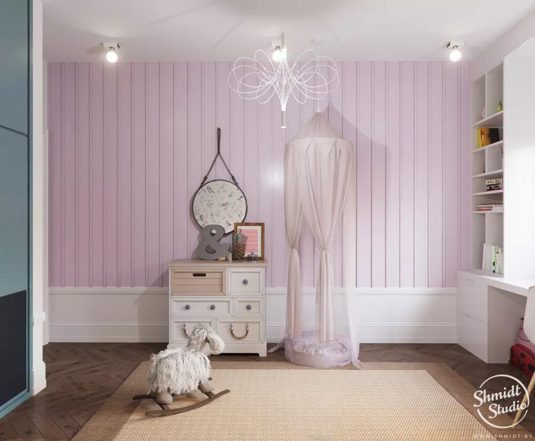 大部分的设计,其实与另一间儿童房   嵌入式的壁橱设计   学习桌图片